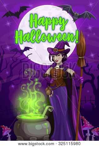 Witch Making Halloween Potion Vector Greeting Card. Evil Sorceress With Hat, Black Magic Cauldron An