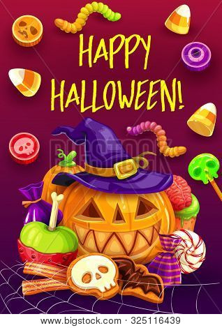 Halloween Pumpkins With Witch Hat And Trick Or Treat Candies Greeting Card. Vector Chocolate Sweets,