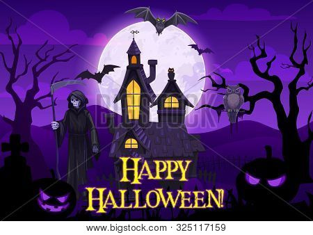 Halloween Horror Night Vector Design With Spooky Pumpkins, Bats And Owl, Moon, Ghosts And Haunted Ho