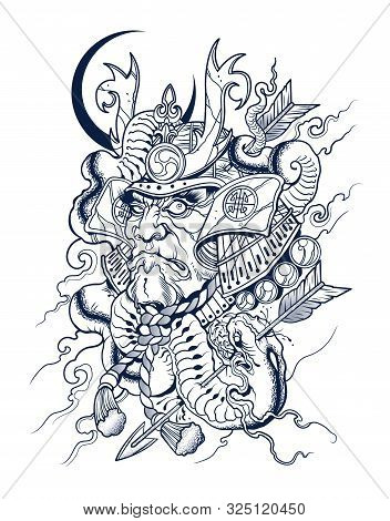 Scary Japanese Samurai Kills A Snake, Vector, Illustration, Tatoo