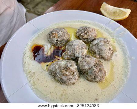 Turkish Food Sulu Kofta / Juicy Kofta Meatballs Soup With Bread. Traditional Healthy Organic Food.