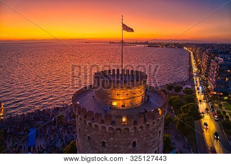 Aerial View Of Famous White Tower Of Thessaloniki At Sunset, Greece.