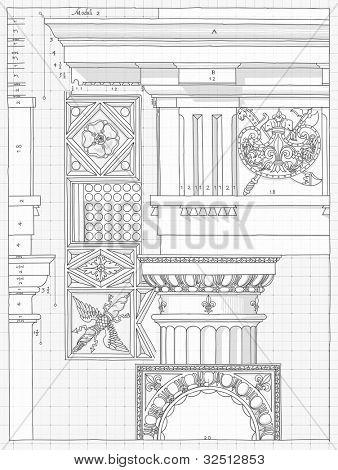 Blueprint - hand draw sketch doric architectural order based