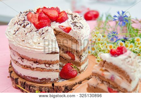 Tiramisu homemade cake. Italian dessert Tiramisu consisting of layers of sponge cake soaked in coffee and brandy or liqueur with powdered chocolate and mascarpone cheese. Homemade Tiramisu cake. Italian Tiramisu desserd. Biscuit Tiramisu