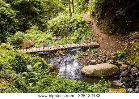 Small Wooden Bridge Across A River, Created By A Waterfall, Surrounded By Forest In The Mountains. F