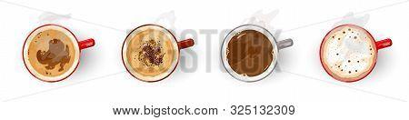 Different Types Of Tasty Coffee, Assortment Americano, Cappuccino, Espresso, Flat White, Irish, Latt