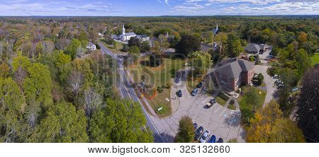 Sherborn Town Center Aerial View Panorama On Washington Street With Fall Foliage In Boston Metro Wes
