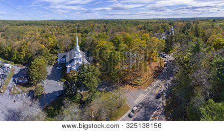 Unitarian Universalist Area Church Aerial View Panorama On Washington Street In Historic Town Center