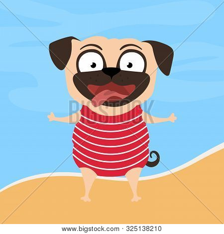 Summer Pug.pug Dressed Up Swim Costume. Cute, Happy, Funny Dog On The Beach. Vector Cartoon Summer I