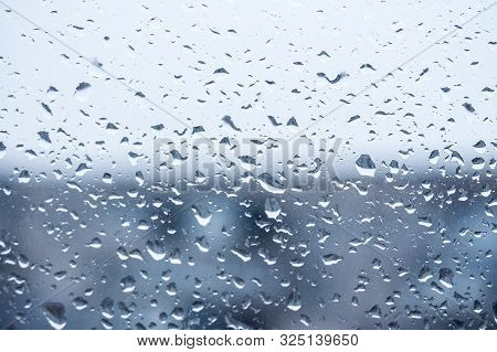 Rain Outside The Window, Drops Of Rain On The Windowpane