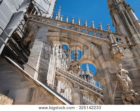 Details On Roof Terrace Of Milan Catehdral In Italy