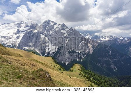 Beautiful View Of The Marmolada Massif In The Dolomites. Italy.