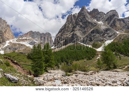 Beautiful Summer View Of Marmolada Massif From Val Rosalia , Dolomites, Italy.