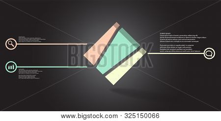 3D Illustration Infographic Template With Embossed Cube Askew Arranged And Vertically Divided To Thr
