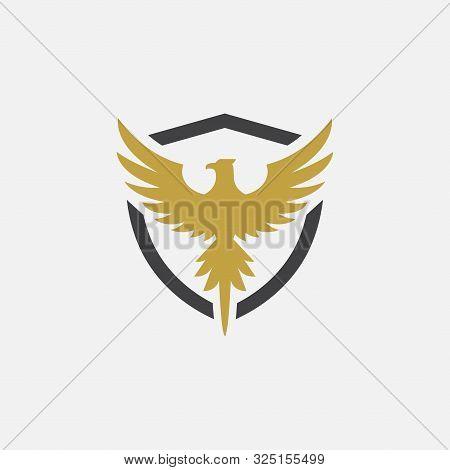 Bird And Shield Icon Design, Phoenix Logo Design Illustration, Falcon Logo, Hawak Logo, Eagle Symbol