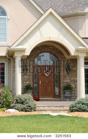 Leaded Glass And Wood Entry Door