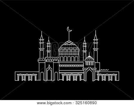 Silhouette Of Mosque With Minarets And Crescent On Black Background. Lineart Black And White For Isl