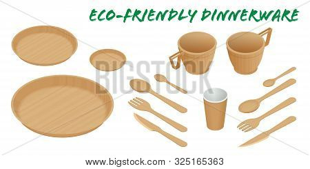 Sustainable Home Goods And Eco-friendly Dinnerware. Isometric Bamboo Spoons, Fork, Knives, Plate Wit