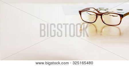 Close Up, Glasses Coin On Table Isolate