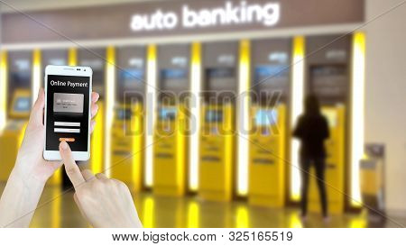 Businesswoman Use Digital Mobile On Atm  Background