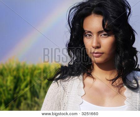 Young Woman In Dreamlike Landscape
