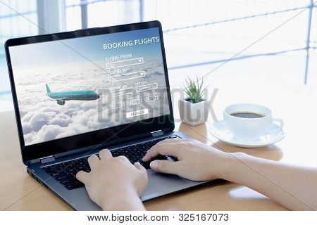 Booking Flight Travel Website Concept  Laptop Table