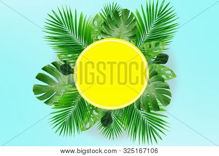 Tropical Leaves With White Copy Space Background.nature And Summer Concepts