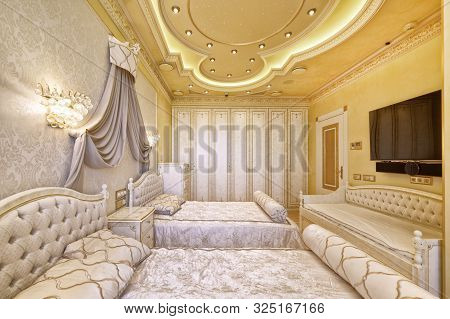 Luxurious Interiors In A Modern House.designer Modern Renovation In A Luxury House. Stylish Bedroom
