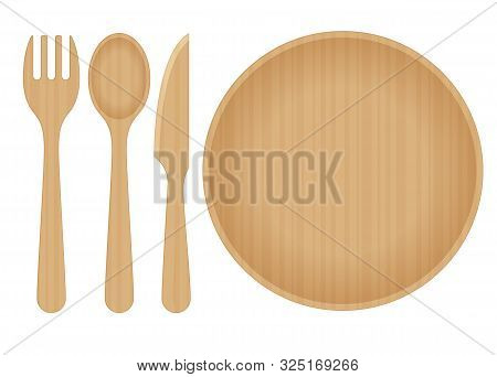 Sustainable Home Goods And Eco-friendly Dinnerware. Bamboo Spoons, Fork, Knives And Plate Isolated O
