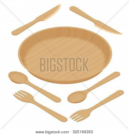 Sustainable Home Goods And Eco-friendly Dinnerware. Isometric Bamboo Spoons, Fork, Knives, Plate Iso