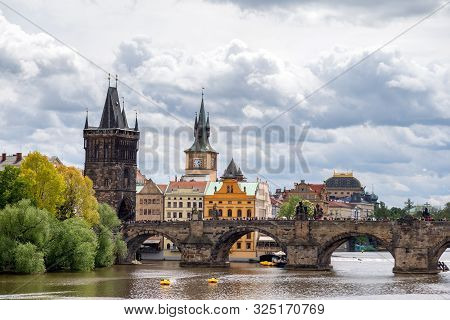 Prague, Czech Republic - May 8, 2019: Famous View On Vltava River And Prague Cityscape In Spring