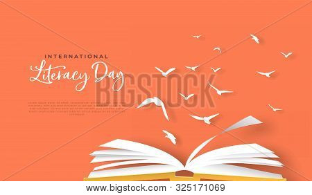 International Literacy Day Greeting Card Template Of Open Book With Paper Bird Flock In Modern Paper