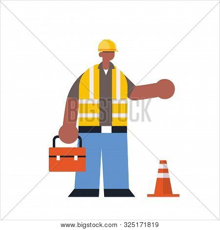male builder holding toolbox african american busy workman standing pose industrial construction worker in uniform building concept flat full length vector illustration poster