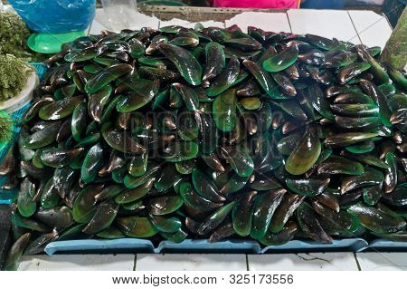 Close-up Heap Of Raw Fresh Mussels On Counter At Local Fish Market. Heap Of Nutritious Shellfish Mol