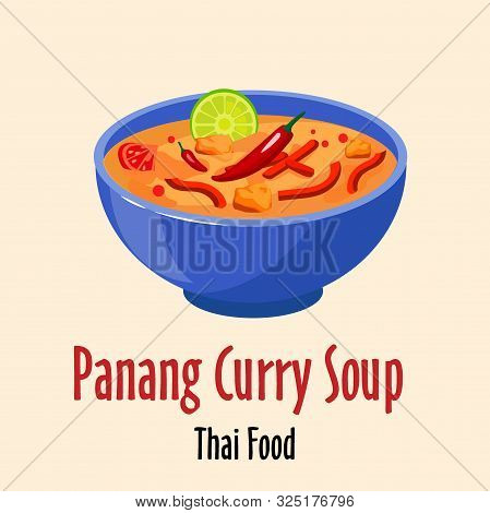 Panang Curry Thai Soup Icon, Spicy Tasty Dish In Colorful Bowl Isolated Vector Illustration.
