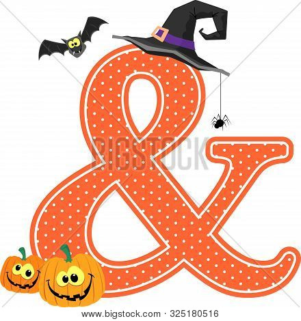ampersand symbol with smiling pumpkins and halloween design elements isolated on white background. c