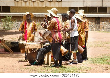 Kampala, Uganda - October 03, 2012.  Drums Perform Traditional Music With A Group Outside The Kampal