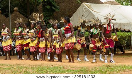 Kampala, Uganda - October 03, 2012.  Traditonal Dance Group Performs Outside The Kampala National Th