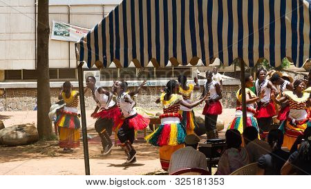 Kampala, Uganda - October 03, 2012.  Dancers Perform Outside The Kampala National Theatre In Kampala