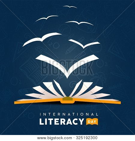 International Literacy Day Greeting Card Illustration Of Open Book With Pages Flying As Birds. Readi