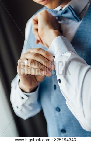 Man Buttons Cuff Link On Cuffs Sleeves Luxury White Shirt.