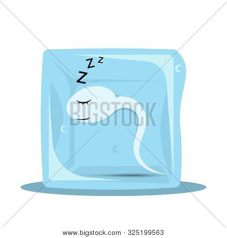 Sperm Freezing. Frozen Sperm In A Cube Of Ice. Cryopreservation Of Seeds. Artificial Insemination. S