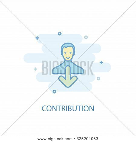 Contribution Line Concept. Simple Line Icon, Colored Illustration. Contribution Symbol Flat Design.