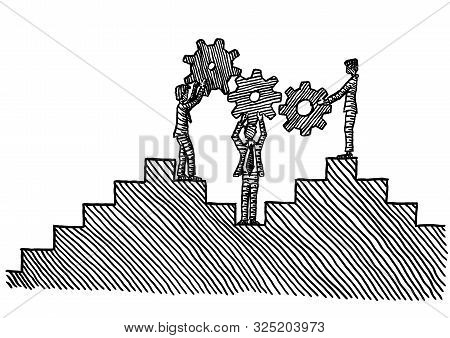 Freehand Pen Drawing Of Three Business Men Holding Up Three Cog Wheels To Form A Gear Train. Metapho