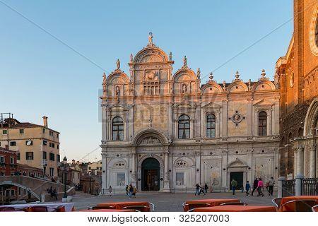 Venice, Italy - March 24, 2019: Scuola Grande Di San Marco And Basilica Giovanni E Paolo, Venice. Ol