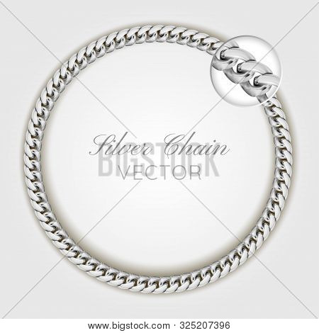 3d Realistic Vector Silver Wrist Chain. Silver Chain Round Wreaths For Use As A Decorative Element.
