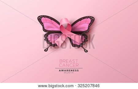 Breast Cancer Awareness Month Illustration, 3d Pink Silk Ribbon For Women Support And Beautiful Butt