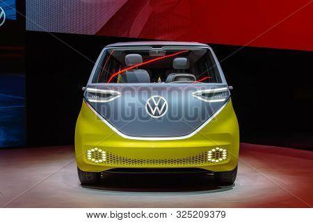 Frankfurt - Sep 15, 2019: Yellow Silver Vw Id Buzz Or Id.buzz. Electric Volkswagen Bulli Minivan Is