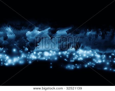 poster of Abstract design made of clouds of fractal foam and abstract lights on the subject of art spirituality painting music visual effects and creative technologies