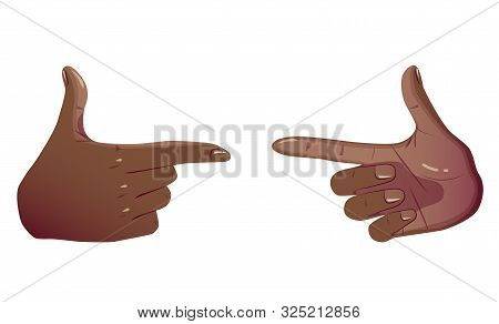 Two Black Pointing Hands Make Gesture Forefinger. Showing Gestures Sign Looks Like Holding Gun And R